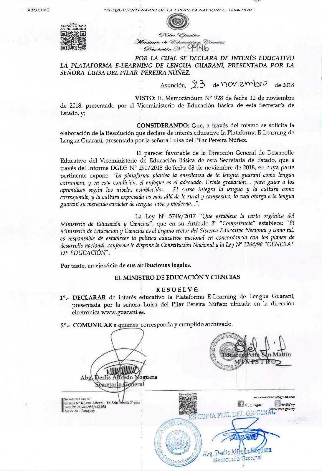 CURSO DECLARADO DE INTERÉS EDUCATIVO POR EL MEC